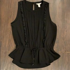 Dressy Black Tank top w/ cinched waist